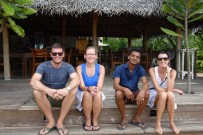 Saying goodbye to our hotel in Tangalle