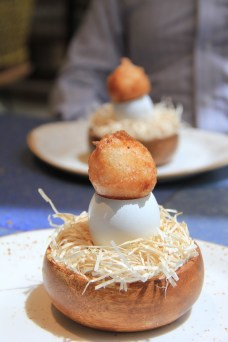 Disfrutar - crispy egg yolk (deep fried, yum!) with mushroom gelatine