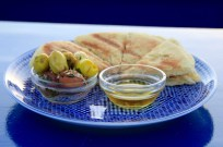 Tangier Salon Bleu - Moroccan bread and olives