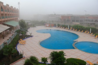 The view from our balcony in Marrakech during a sand storm