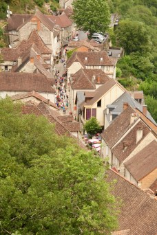 View down of Rocamadour village from the sanctuary