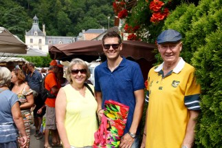 Ben with his parents at the Brantome markets