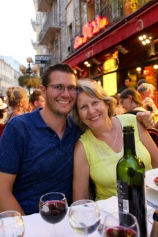 Ben with his Mum enjoying a nice dinner out in Nice