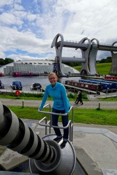 Anna playing with the water playground at the Falkirk Wheel