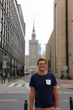 Ben in Warszawa by the Palace of Culture and Science
