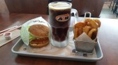 A&W Burger, rootbeer and onion rings ... yum!
