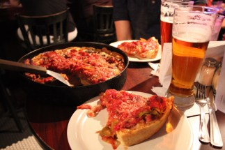 Deep dish pizza at Pizzeria Due