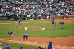 Getting the diamond ready for the Cubs game at Wrigley Field