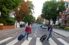 Us at the Abbey Road crossing ... with our bags