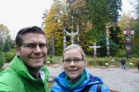 Selife by the totem poles in Stanley Park Vancouver