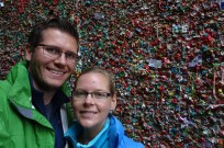 Selfie at the disgusting 'gum wall' at the Seattle Pike Place Market