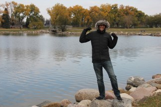 Ben trying out his new coat in Lethbridge