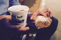 Sugar covered beignet (and hot chocolate) from Cafe du Monde in New Orleans, Louisiana
