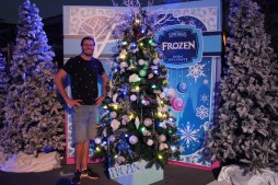 "Ben with the ""Frozen"" themed Christmas Tree at Disney Springs, Orlando, Florida"
