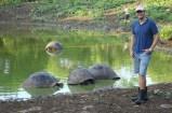 Ben with giant land tortoises on Santa Cruz Island, Galapagos