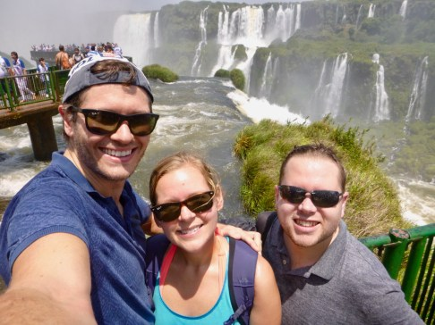 Selfie before getting on the walkway, Iguazu Falls, Brazil