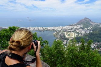 Anna taking pictures at Christ the Redeemer, Rio de Janeiro
