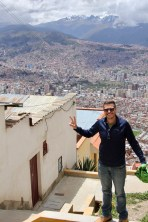 Ben at the top of the mountain with La Paz in the background, Bolivia