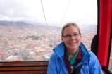 Anna on the teleferico in La Paz, Bolivia