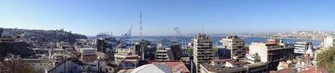 View of the port at Valparaiso, Chile