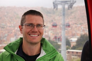 Ben on the teleferico in La Paz, Bolivia