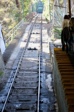 Funicular going up the hill in Santiago, Chile
