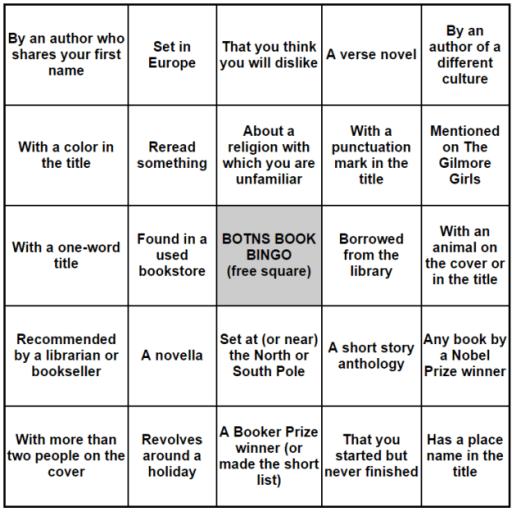 Book Bingo 2016