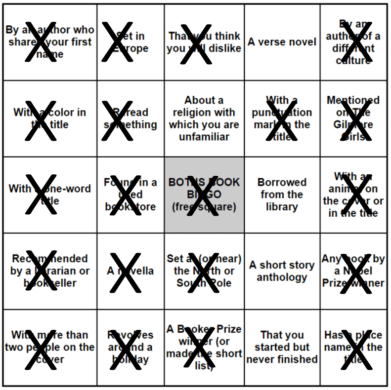 Putting my 2016 Bookbingo card to bed...