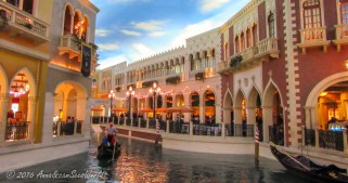 Canals and gondoliers inside The Venetian Grand Canal Shoppes
