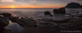 Uttakleiv Beach at sunset