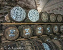Barrels in the maturation warehouse