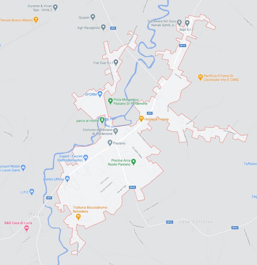Map of Pasiano di Pordenone