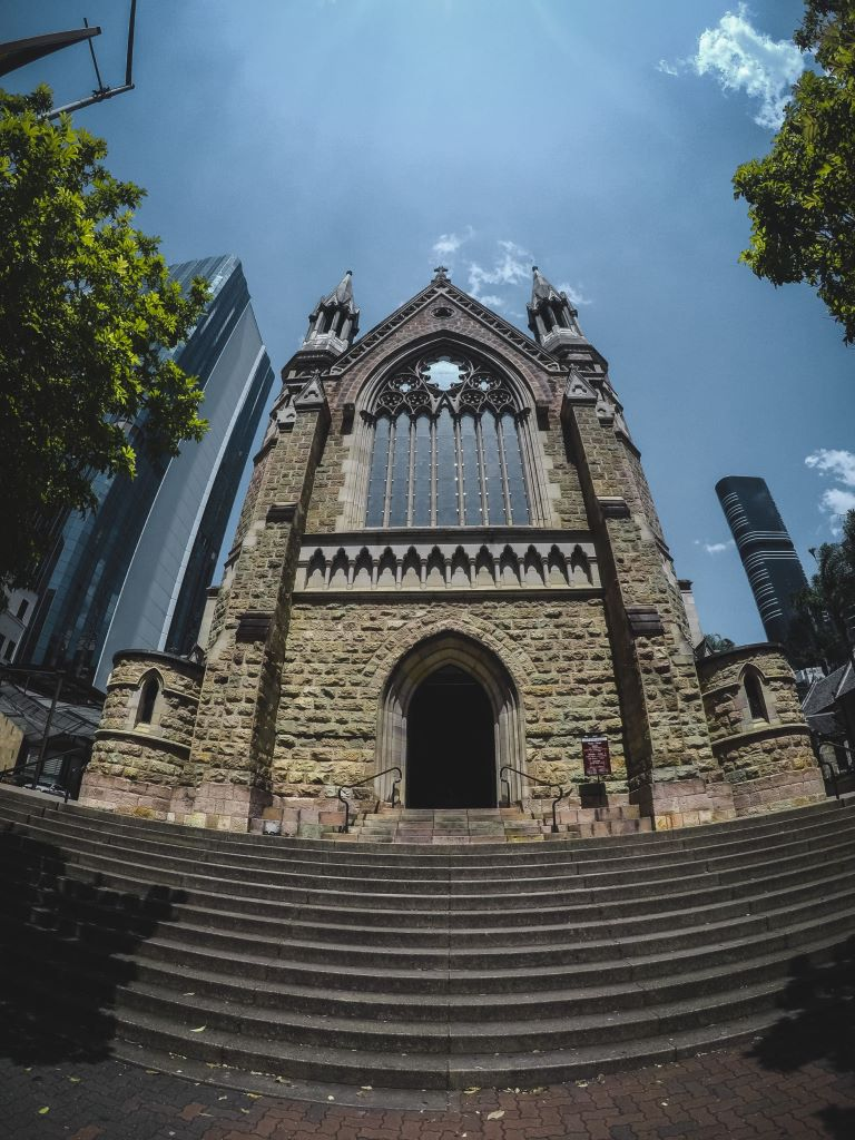 An vertical view of St. Stephen's Cathedral exterior in Brisbane