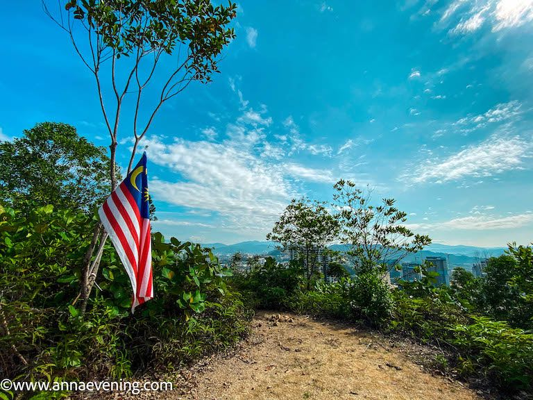A Malaysian flag and a lookout