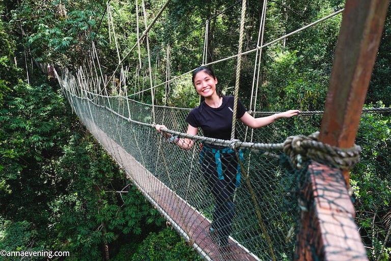 A girl posing on a suspension bridge in Taman Negara