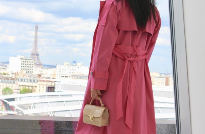 idée look trench oversize rose