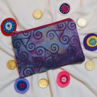 Purple Hand Stamped Coin Purse