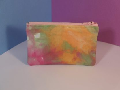 Hand Dyed Pink, Green and Orange Coin Purse