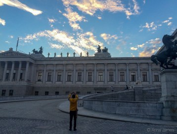 Sunset over Austrian Parliament
