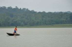 Fishing from a coracle