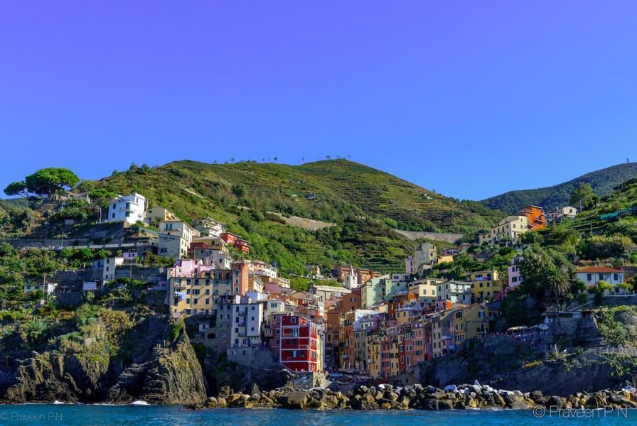 View of Riomaggiore from the sea