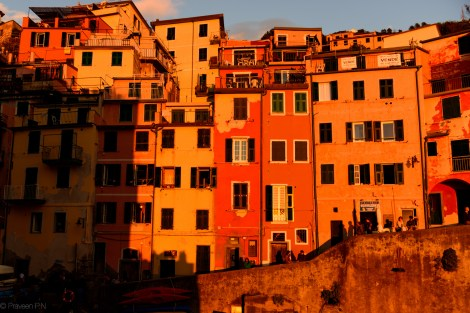Sun glow on the colorful houses of Riomaggiore
