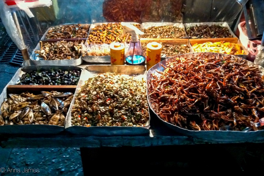 Fried crickets and other larvae