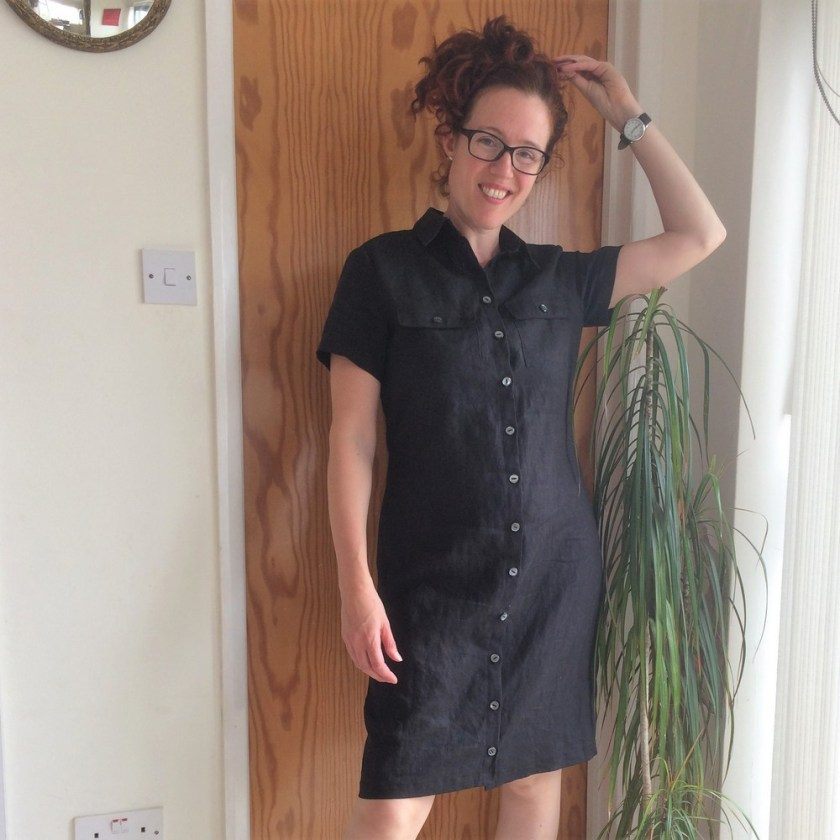 Vogue 8903 shirt dress in black linen