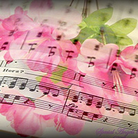 Flowers overlaid on top of a music sheet