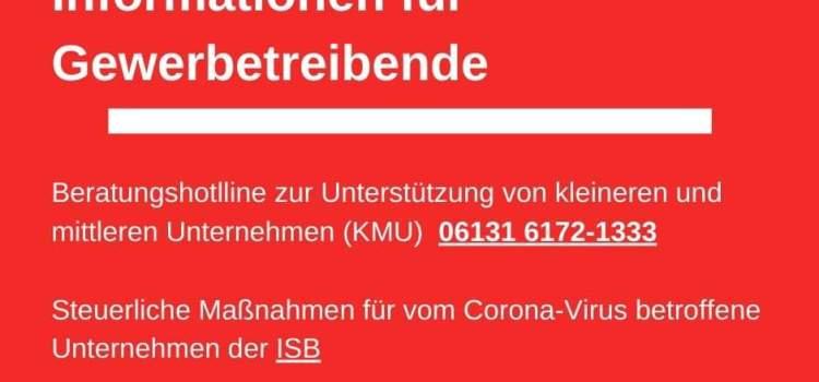 Corona-Virus: Informationen für Gewerbetreibende