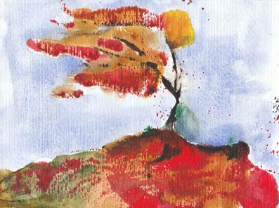 autumnal wind watercolour