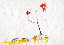 Japanese-inspired drawing yellow black red ink