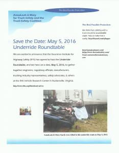 Save the Date Underride Roundtable