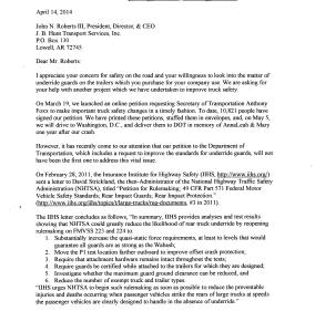 Request for Statement from JB Hunt